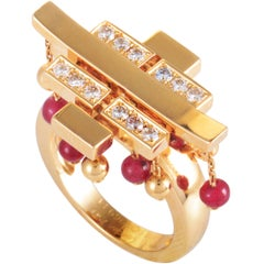 Cartier Le Baiser du Dragon Diamond Pave and Ruby Yellow Gold Tassel Ring