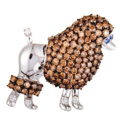 White and Brown Diamonds and Sapphire White Gold Poodle Pendant Brooch