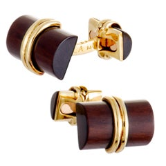 Van Cleef & Arpels Letterwood Yellow Gold Cufflinks