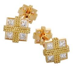 Van Cleef & Arpels Vintage Diamond Filigree Yellow Gold Square Cufflinks