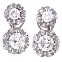 White Gold Diamond Flower Dangle Omega Earrings