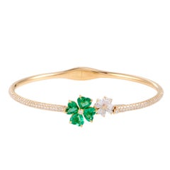 Chopard For You Diamond and Emerald Yellow Gold Two Flowers Bracelet