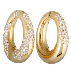Bulgari Diamond Pave Large Yellow Gold Hoop Clip-On Earrings