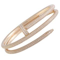 Cartier Juste un Clou Full Diamond Pave Two Coil Rose Gold Bangle Bracelet