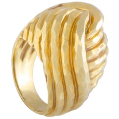 Henry Dunay Yellow Gold Hammered Bombe Ring