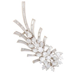 Full Diamond Platinum Floral Brooch