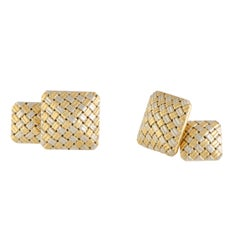 Cartier Vintage Yellow and White Gold Basket Weave Square Cufflinks