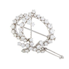 Full Diamond Platinum Ellipse Brooch