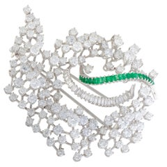 Diamond Cluster and Emerald Platinum Spiral Brooch