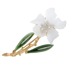 Diamonds and White and Green Crystal Orchid Flower Yellow Gold Brooch