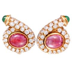 Bulgari Vintage Diamond Emerald and Ruby Yellow Gold Huggie Clip-On Earrings
