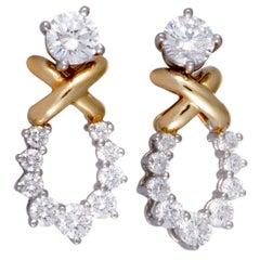 Tiffany & Co. Diamond Loop Platinum and Yellow Gold Push Back Earrings