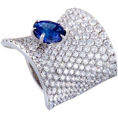 Stefan Hafner Diamond Pave and Sapphire White Gold Curved Ring