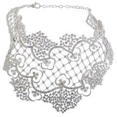 Stefan Hafner Diamond Lace Large Bib White Gold Necklace
