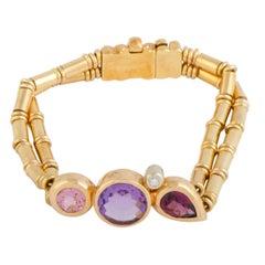 Manfredi Diamond Kunzite Amethyst and Tourmaline Yellow and White Gold Bracelet
