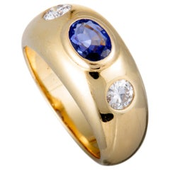 Bulgari Two-Diamond and Sapphire Yellow Gold Band Ring