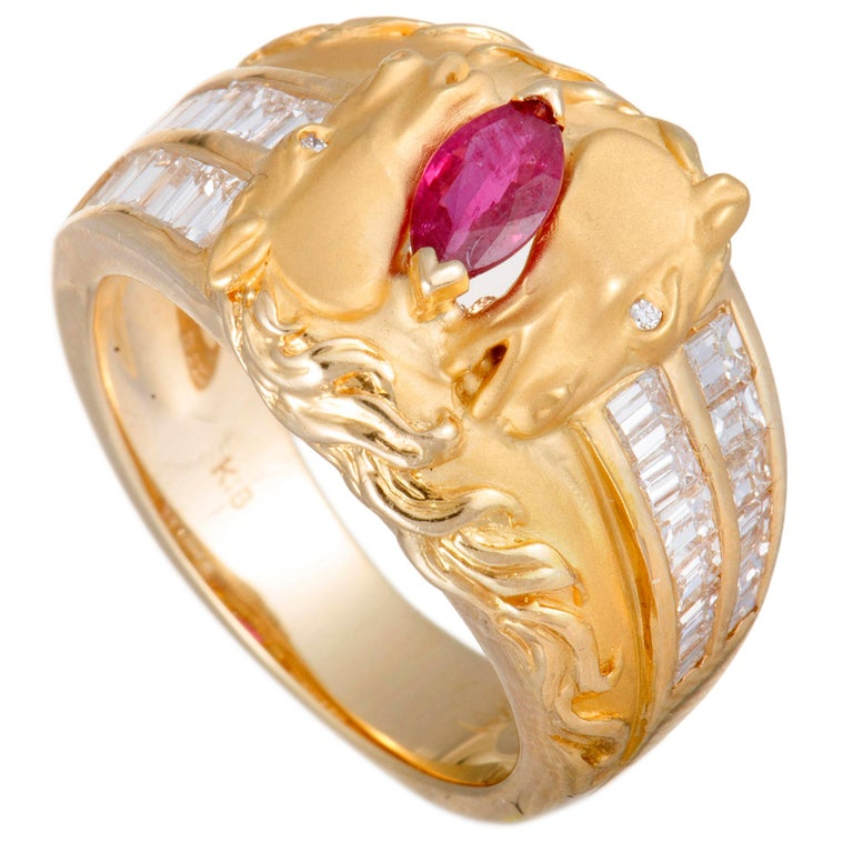 Carrera y Carrera Ecuestre Baguette Diamond and Ruby Horse Yellow Gold Band Ring