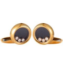 Chopard Happy Diamonds Diamond and Onyx Yellow Gold Round Cufflinks
