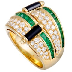 Picchiotti Diamond Pave Emerald Invisible Setting and Onyx Yellow Gold Band Ring