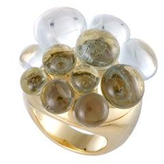 Pomellato Mora Aquamarine Yellow Gold Cluster Ring