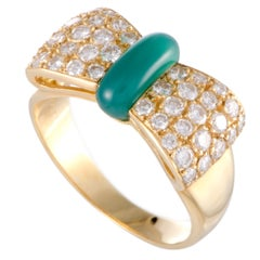 Van Cleef & Arpels Diamond Pave and Green Chalcedony Yellow Gold Bow Ring
