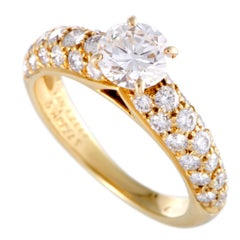 Van Cleef & Arpels Center Diamond and Diamond Pave Yellow Gold Engagement Ring