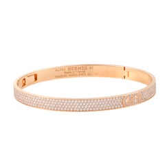 Hermès H D'Ancre Diamond Pave Rose Gold Bangle Bracelet