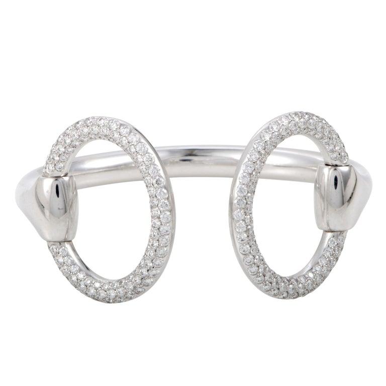 Hermès Nausicaa Diamond Pave Horse bit White Gold Open Bangle Bracelet