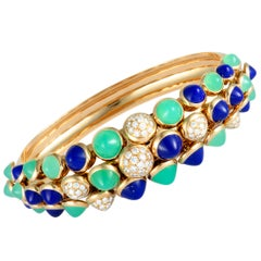 Cartier Cactus Diamond Pave Chrysoprase and Lapis Yellow Gold Bangle Bracelet
