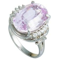 Platinum Diamonds and Oval Kunzite Ring