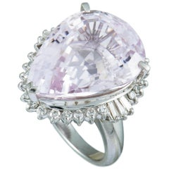 Platinum Round and Tapered Baguette Diamonds and Pear Kunzite Ring