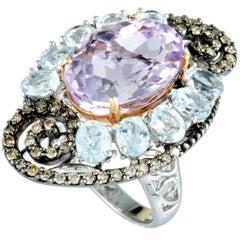 Diamond Aquamarine and Oval Kunzite White and Rose Gold and Black Rhodium Ring