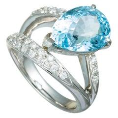 Diamonds and Pear Aquamarine Platinum Split Ring