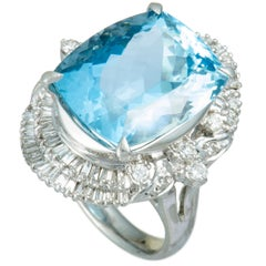 Round and Tapered Baguette Diamonds and Aquamarine Platinum Oval Ring