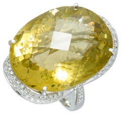 Diamond Pave and Large Lemon Citrine Platinum Oval Ring