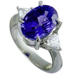 Trillion Cut Diamonds and Oval Tanzanite Platinum Ring