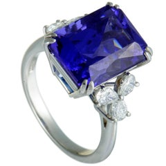 Diamond and Rectangle Tanzanite Platinum Ring
