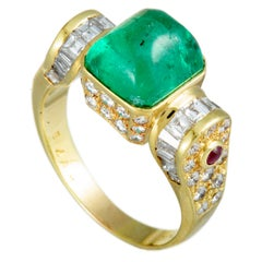 Diamonds Ruby and Rectangle Emerald Cabochon Yellow Gold Ring