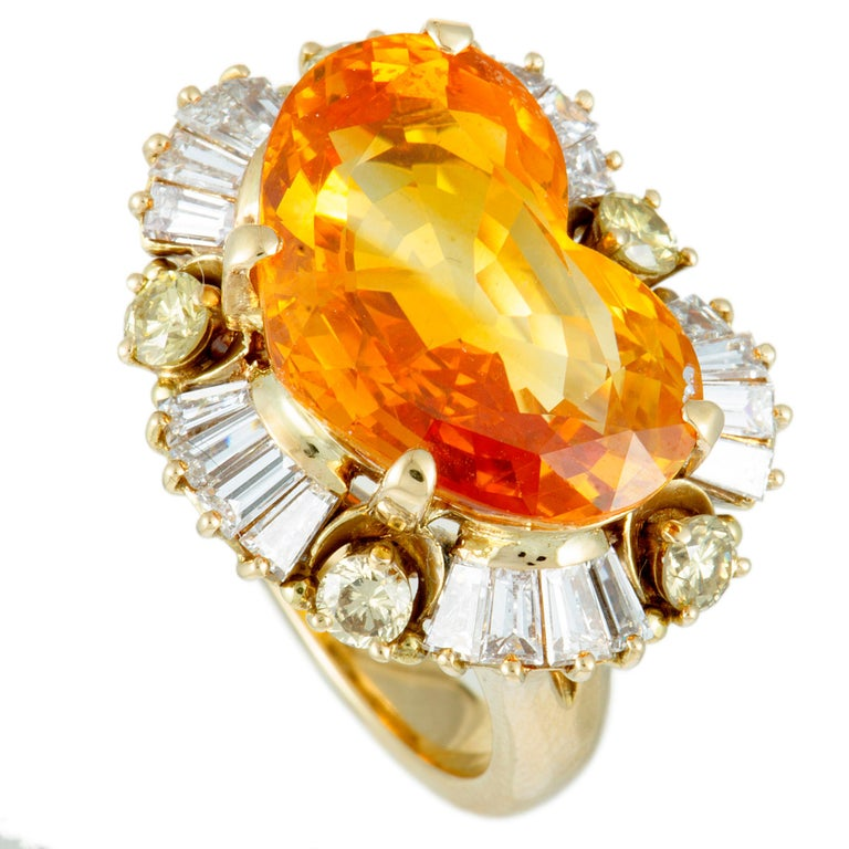 White and Yellow Diamonds and Yellow Sapphire Heart Yellow Gold Ring