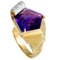 Diamond Pave and Pentagon Amethyst Yellow Gold and Platinum Ring