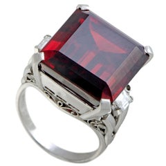 Diamonds and Large Rectangle Garnet Platinum Ring