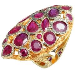Loree Rodkin 18 Karat Yellow Gold Ruby Cluster Large Marquise Ring