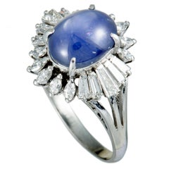 Marquise and Tapered Baguette Diamonds and Oval Sapphire Cabochon Platinum Ring