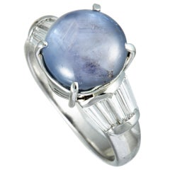 Tapered Baguette Diamonds and Round Sapphire Cabochon Platinum Ring