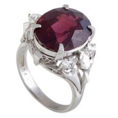 Diamond and Oval Garnet Platinum Ring