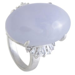Round and Tapered Baguette Diamonds and Large Oval Lavender Jade Platinum Ring