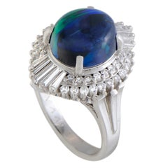 Round and Baguette Diamonds and Opal Oval Platinum Ring