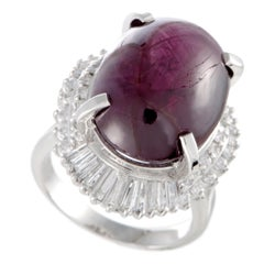 Round and Tapered Baguette Diamonds and Star Ruby Cabochon Oval Platinum Ring