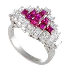 Diamonds and Rubies Platinum Ring