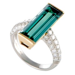 Diamond Pave and Rectangle Blue Tourmaline Platinum and Yellow Gold Ring